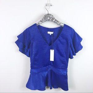 NWT Waverly Grey Blue Peplum Blouse Size XS
